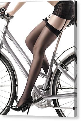 Stilettos Canvas Print - Sexy Woman Riding A Bike by Oleksiy Maksymenko