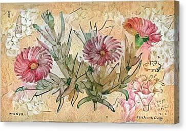Shabby Chic Botanical Flowers Canvas Print