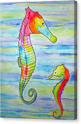 Canvas Print featuring the painting Shave-ice Seahorses by Erika Swartzkopf