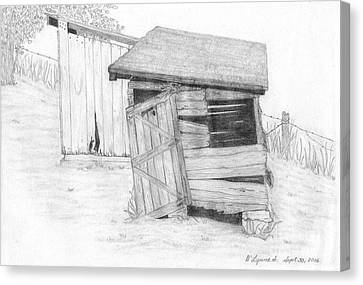 Shed And Wpa Outhouse On Johnson Farm Canvas Print by Tree Whisper Art - DLynneS