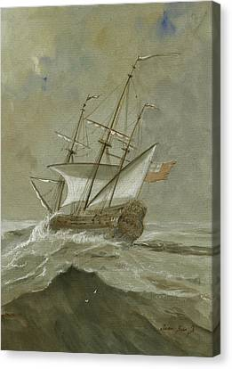 Ship At The Storm Canvas Print by Juan Bosco
