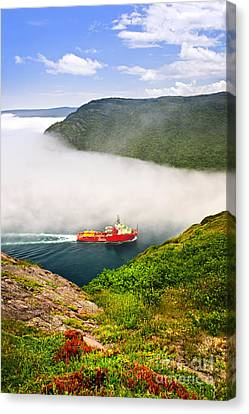 Ship Entering The Narrows Of St John's Canvas Print