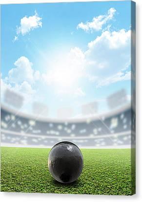 Shotput Ball Stadium And Green Turf Canvas Print by Allan Swart