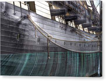 Side Of The Uss Constellation Navy Ship In Baltimore Harbor Canvas Print by Marianna Mills