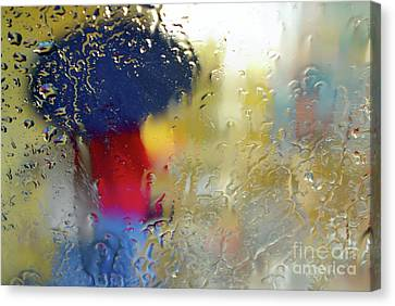 Silhouette In The Rain Canvas Print by Carlos Caetano