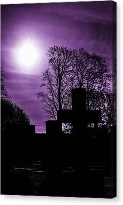 Swirling Desires Canvas Print - Silhouettes Of Trees And Crosses by Tommytechno Sweden