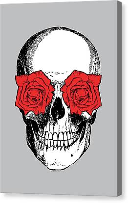 Skull And Roses Canvas Print by Eclectic at HeART