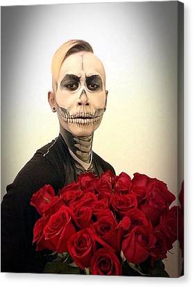 Skull Tux And Roses Canvas Print by Kent Chua