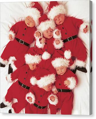 Sleepy Santas Canvas Print