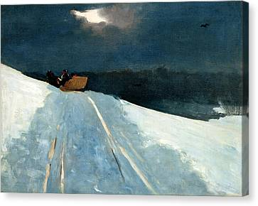 Canvas Print featuring the painting Sleigh Ride by Winslow Homer