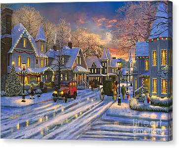 Small Town Christmas Canvas Print