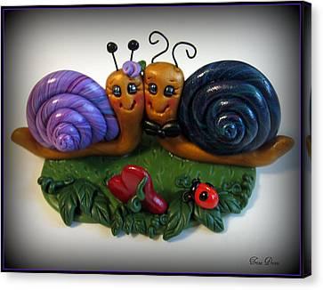 Snails In Love Canvas Print by Trina Prenzi