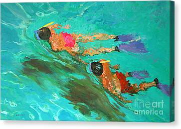 Flippers Canvas Print - Snorkelers  by William Ireland