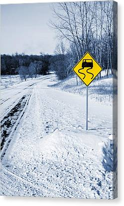 Snow Covered Winter Road Blue Tone Canvas Print by Donald  Erickson