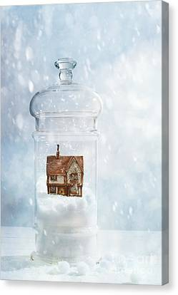 Snow Globe With Country Cottage Canvas Print