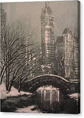 Snow In Central Park Canvas Print by Tom Shropshire