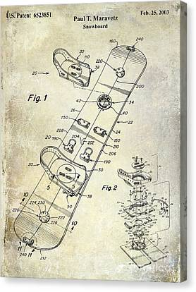 Snowboard Patent Drawing Canvas Print