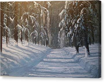 Canvas Print featuring the painting Snowy Road by Ken Ahlering