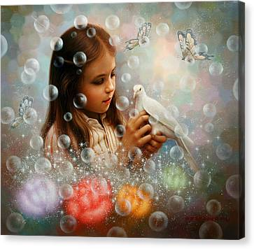 Soap Bubble Girl Canvas Print
