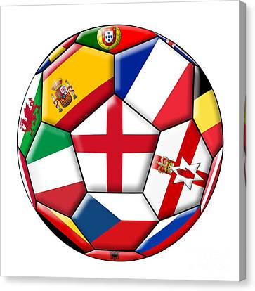 Soccer Ball With Flag Of England In The Center Canvas Print by Michal Boubin