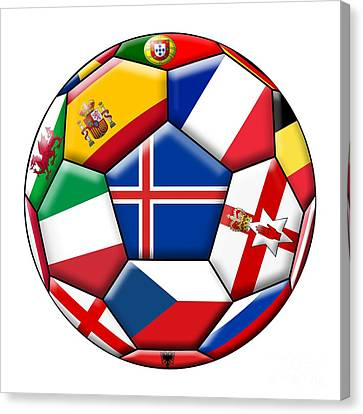 European Championship Canvas Print - Soccer Ball With Flag Of Iceland In The Center by Michal Boubin