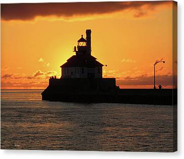 Duluth Canal Park Canal Park Lighthouse Lighthouse Lake Superior Minnesota Canvas Print - South Pier Sunrise by Alison Gimpel
