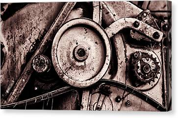Soviet Ussr Combine Harvester Abstract Cogs In Monochrome Canvas Print by John Williams
