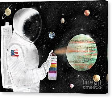 Canvas Print featuring the painting Space Graffiti by Bri B