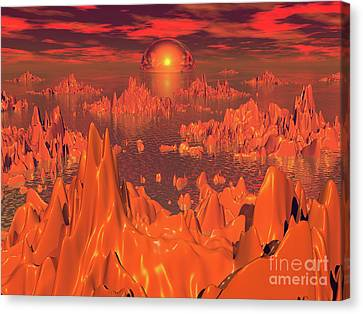 Space Islands Of Orange Canvas Print by Phil Perkins