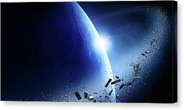 Space Junk Orbiting Earth Canvas Print by Johan Swanepoel