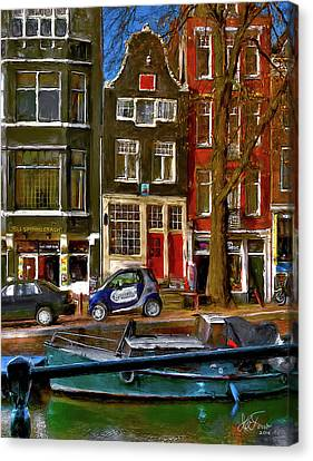 Canvas Print featuring the photograph Spiegelgracht 6. Amsterdam by Juan Carlos Ferro Duque