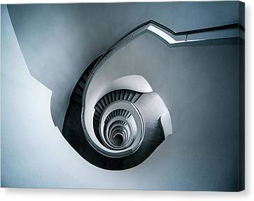 Canvas Print featuring the photograph Spiral Staircase In Blue Tones by Jaroslaw Blaminsky