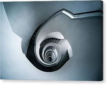 Spiral Staircase In Blue Tones Canvas Print by Jaroslaw Blaminsky