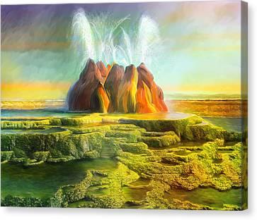 Spitting-fly Geyser In Nevada Canvas Print by Angela A Stanton