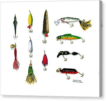 Sport Fishing Spinners Spoons And Plugs Canvas Print by Sharon Blanchard