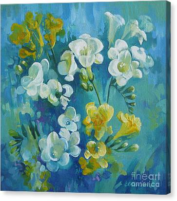 Canvas Print featuring the painting Spring Fragrances by Elena Oleniuc