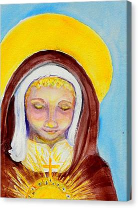 Young St. Clare Canvas Print - St. Clare Of Assisi by Susan  Clark