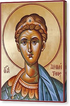 St Demetrios The Great Martyr And Myrrhstreamer Canvas Print by Julia Bridget Hayes