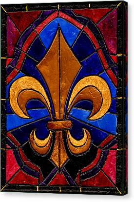 Stained Glass Fleur De Lis Canvas Print by Elaine Hodges