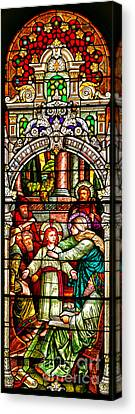 Canvas Print featuring the photograph Stained Glass Scene 3 Crop by Adam Jewell