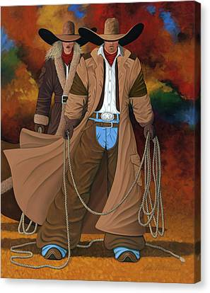 Contemporary Cowgirl Canvas Print - Stand By Your Man by Lance Headlee