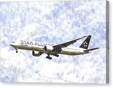 Star Alliance Boeing 777 Art Canvas Print by David Pyatt