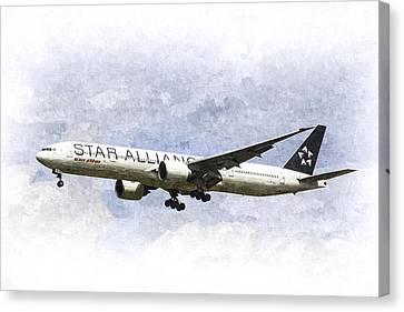 Star Alliance Boeing 777 Canvas Print by David Pyatt