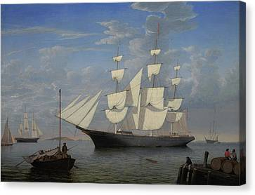 Starlight In Harbor Canvas Print by Fitz Henry Lane