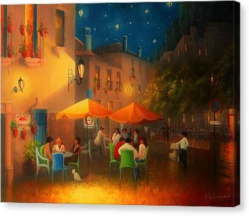 Starry Night Cafe Society Canvas Print by Joe Gilronan