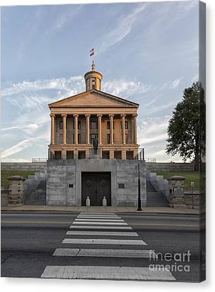 Capital Building In Nashville Tennessee Canvas Print - State Capital Building Of Nashville Tennessee At Sunrise by Jeremy Holmes