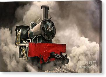 Canvas Print featuring the photograph Steam Engine by Charuhas Images