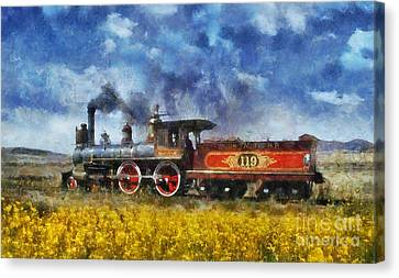 Canvas Print featuring the photograph Steam Locomotive by Ian Mitchell