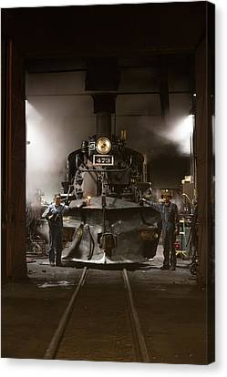 Canvas Print featuring the photograph Steam Locomotive In The Roundhouse Of The Durango And Silverton Narrow Gauge Railroad In Durango by Carol M Highsmith