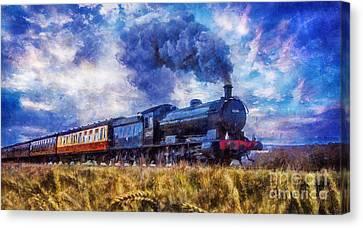 Canvas Print featuring the digital art Steam Train by Ian Mitchell